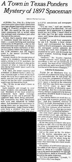 NY Times Aurora TX UFO Crash Newspaper