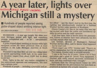 Holland Michigan UFO NewsPaper